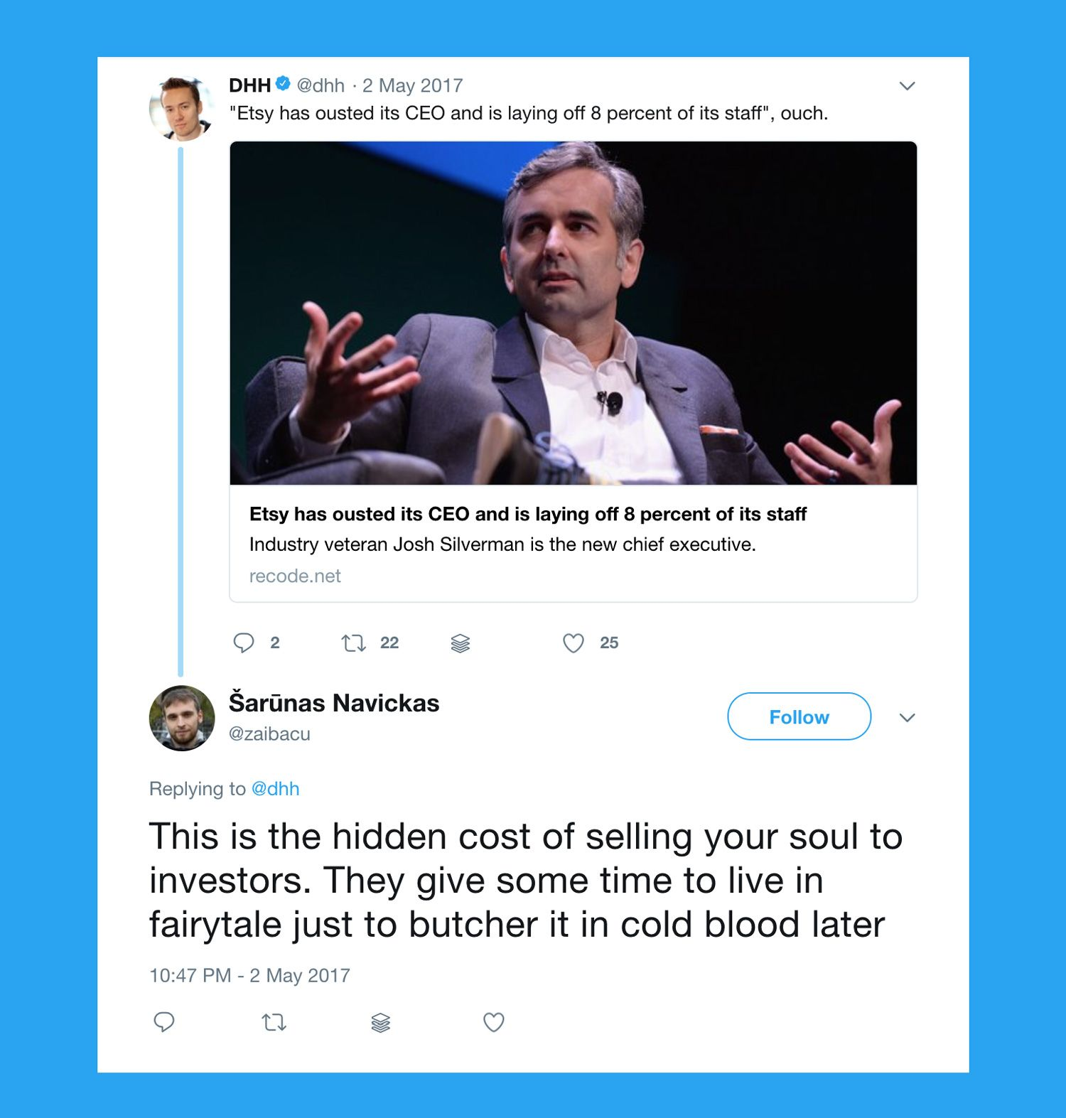 selling your soul to investors